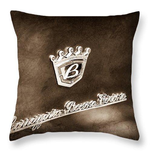 Carrozzeria Boano Emblem Throw Pillow featuring the photograph Carrozzeria Boano Emblem by Jill Reger