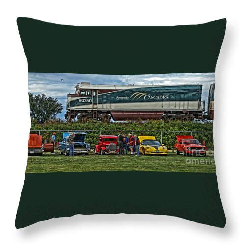 Cars Throw Pillow featuring the photograph Cars And Trains by Randy Harris