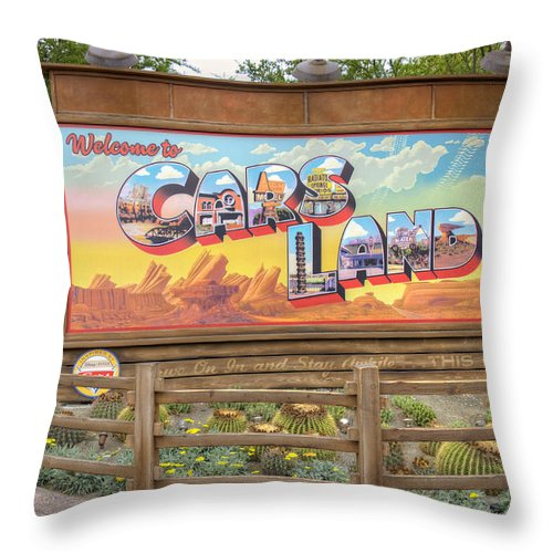Cars Throw Pillow featuring the photograph Cars Land by Ricky Barnard