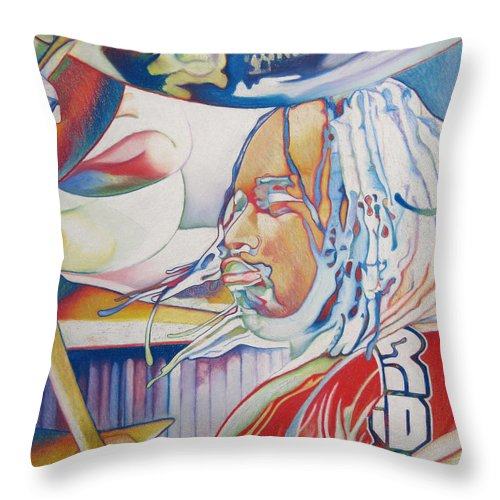 Carter Beauford Throw Pillow featuring the drawing Carter Beauford Colorful Full Band Series by Joshua Morton