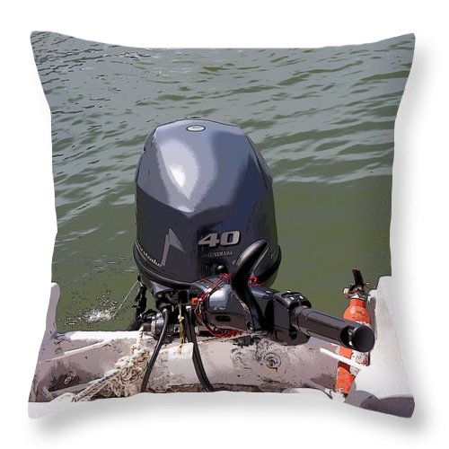 Cartoon - A Yamaha Outboard Motor Attached To A Boat In A Lake Throw Pillow