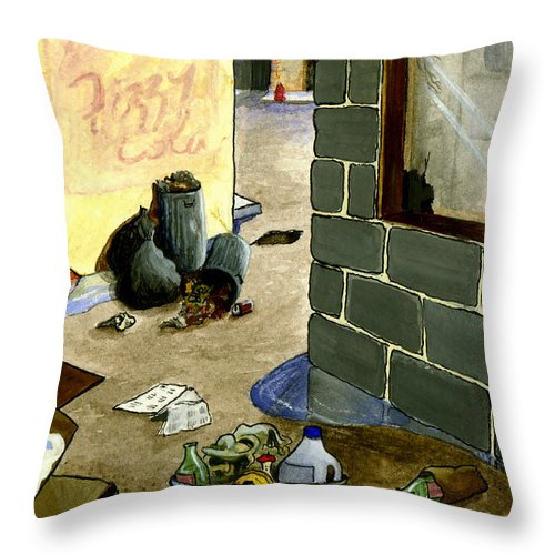 Animation Background Cartoon Alley Cityscape Throw Pillow featuring the painting Cartoon Alley by Brenda Salamone