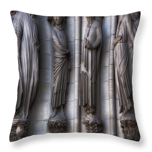 Architecture Throw Pillow featuring the photograph Carved Columns by Jerry Fornarotto
