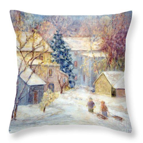 Christmas Throw Pillow featuring the painting Carversville Snow by Pamela Parsons