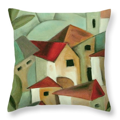 Landscape Throw Pillow featuring the painting Casas I by Trish Toro