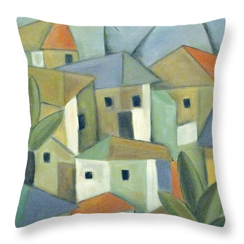 Landscape Throw Pillow featuring the painting Casas II by Trish Toro