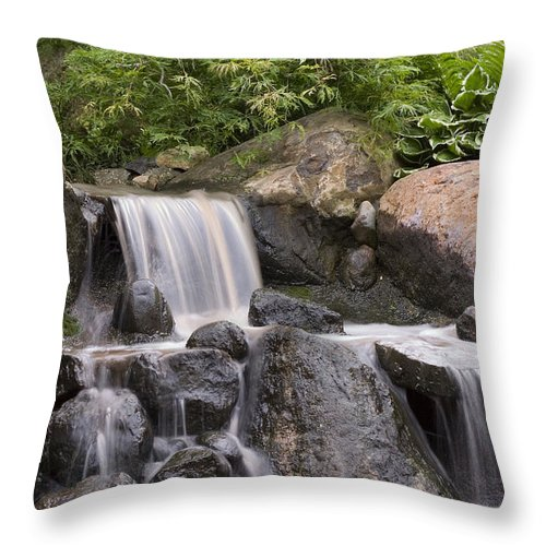 3scape Photos Throw Pillow featuring the photograph Cascade Waterfall by Adam Romanowicz