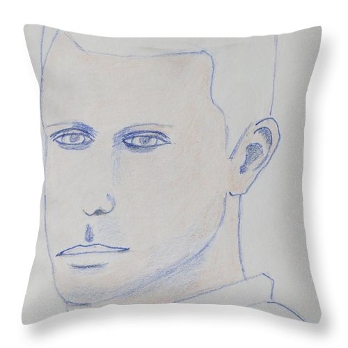 Portrait Throw Pillow featuring the drawing Frank The Ghost by Manuel Matas