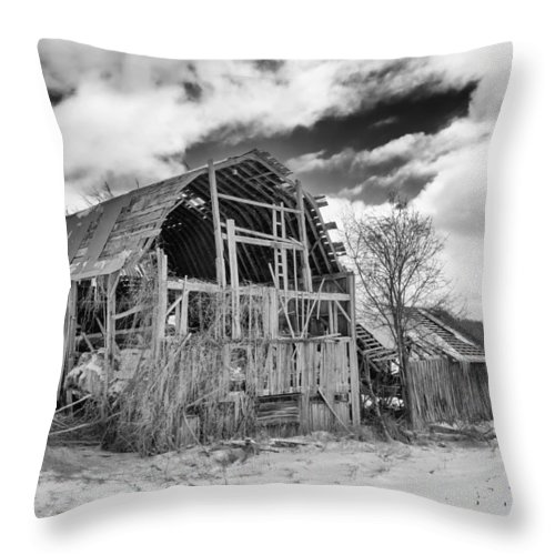 Barn Throw Pillow featuring the photograph Castile Barn Revisited by Guy Whiteley