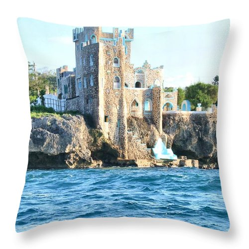 Castle Throw Pillow featuring the photograph Castle At Sea by Debbie Levene