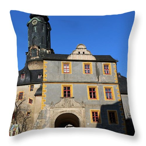 Castle Throw Pillow featuring the photograph Castle Church Weimar by Christiane Schulze Art And Photography