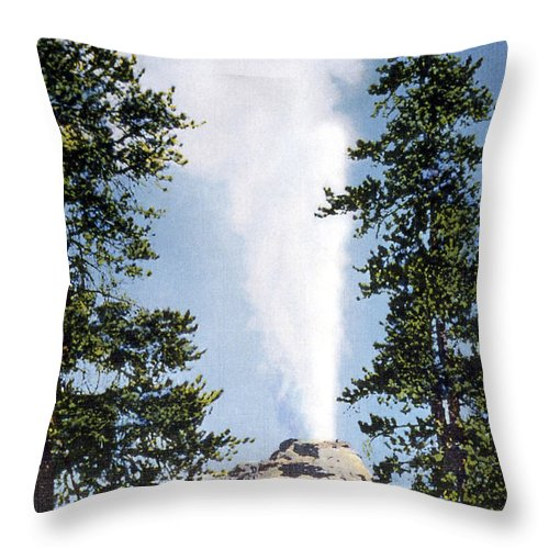Castle Geyser Throw Pillow featuring the photograph Castle Geyser Yellowstone Np by NPS Photo Frank J Haynes
