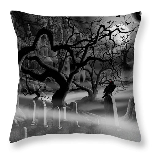 Castle Throw Pillow featuring the painting Castle Graveyard by James Christopher Hill