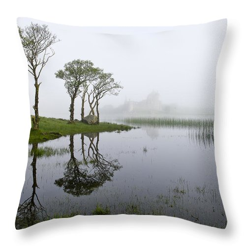 Loch Awe Throw Pillow featuring the photograph Castle Kilchurn Loch Shore by Gary Eason