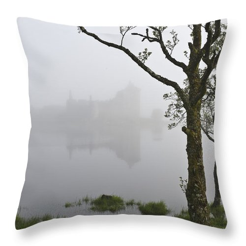 Mist Throw Pillow featuring the photograph Castle Kilchurn Tree by Gary Eason