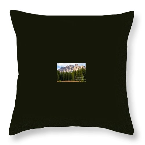 Canadian Rockies Banff National Park Canada Tree Trees Parks Rocky Mountains Grass Grasses Mountain Landscape Landscapes Cloud Clouds Throw Pillow featuring the photograph Castle Mountain by Bob Phillips