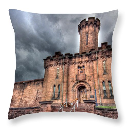 Schuylkill County Prison Throw Pillow featuring the photograph Castle Of Solitude by Lori Deiter