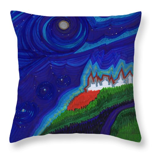 First Star Art Throw Pillow featuring the drawing Castle On The Cliff By Jrr by First Star Art