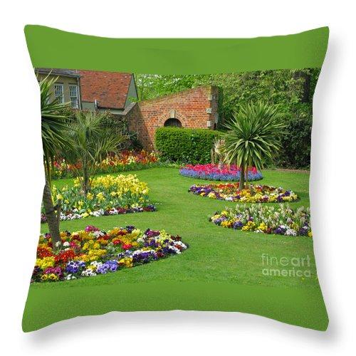 Garden Throw Pillow featuring the photograph Castle Park Gardens by Ann Horn