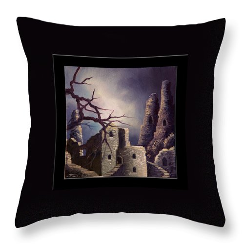 Gothic Throw Pillow featuring the painting Castle Ruins IV by James Christopher Hill