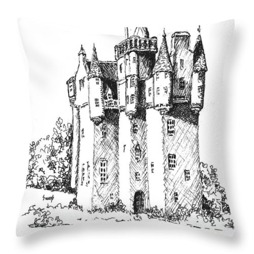 Castle Throw Pillow featuring the drawing Castle by Sam Sidders