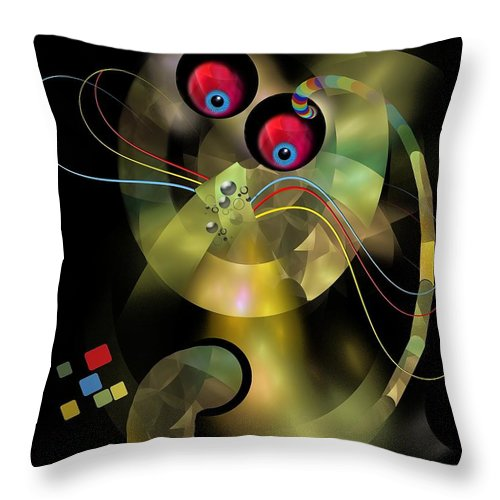 Graphics Throw Pillow featuring the digital art Cat 005-13 Marucii by Marek Lutek