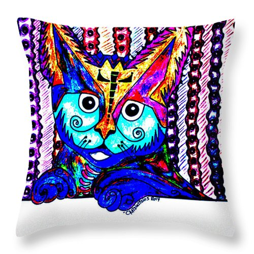 Cat Throw Pillow featuring the drawing Cat 1 by Carol Tsiatsios