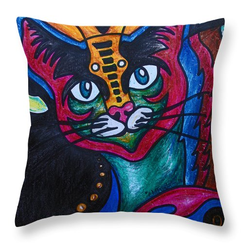 Cat Throw Pillow featuring the drawing Cat 2 by Carol Tsiatsios