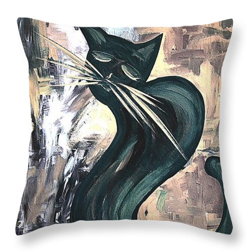 Abstract Throw Pillow featuring the digital art Cat 527-11-13 Marucii by Marek Lutek