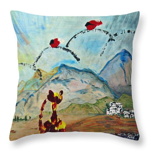 Cat Throw Pillow featuring the painting Cat And Bird Game by Rita Omark
