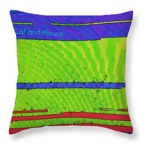 Cat Throw Pillow featuring the digital art Cat And Mouse by Renee Trenholm