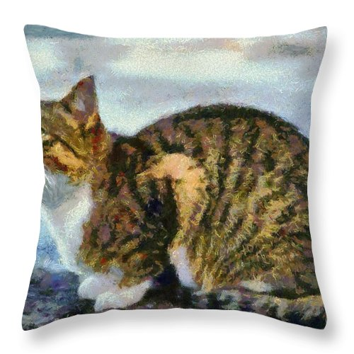 Cat; Cats; Feline; Tabby; Animal; Sit; Sitting; Rest; Resting; Free; Alone; Greece; Hellas; Greek; Hellenic; Crete; Islands; Holidays; Island; Vacation; Sea; Seaside; Yellow; Eyes; Red; White; Paint; Painting; Paintings Throw Pillow featuring the painting Cat By The Seaside by George Atsametakis