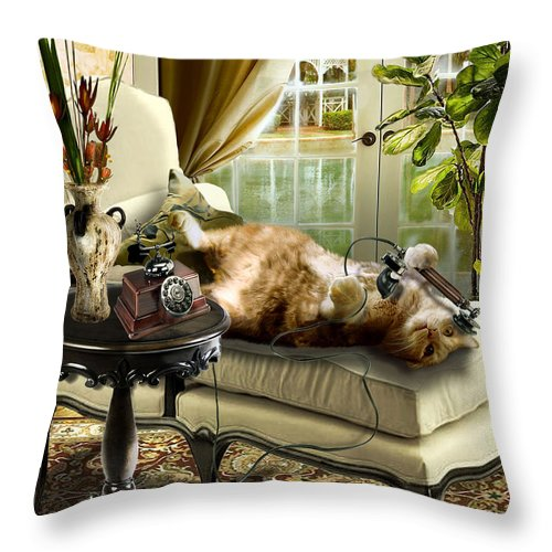 Pet Cat Painting Throw Pillow featuring the painting Funny pet talking on the phone by Regina Femrite