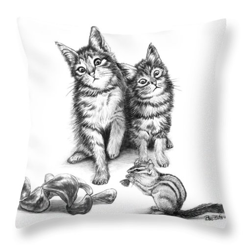 Cat Chips Throw Pillow featuring the drawing Cat Chips by Peter Piatt