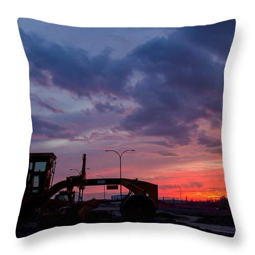 Cat Machine Throw Pillow featuring the photograph Cat Grader Sunset Silhouette by Alanna DPhoto