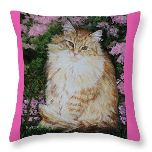 'cat Print Fine Art Throw Pillow featuring the painting Kitten Cat Painting Perfect For Child's Room Art by Diane Jorstad