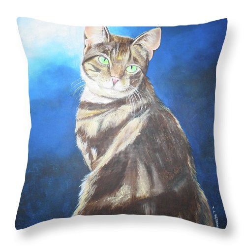 Persian Throw Pillow featuring the painting Cat Profile by Thomas J Herring