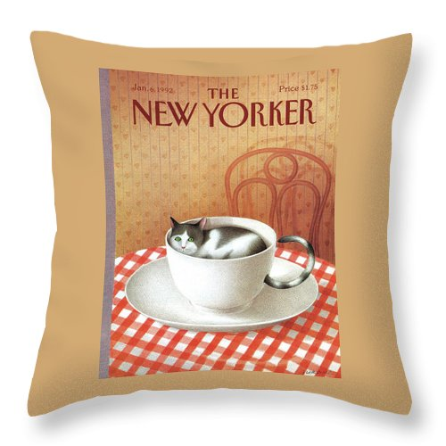 Cat Throw Pillow featuring the painting New Yorker January 6, 1992 by Gurbuz Dogan Eksioglu