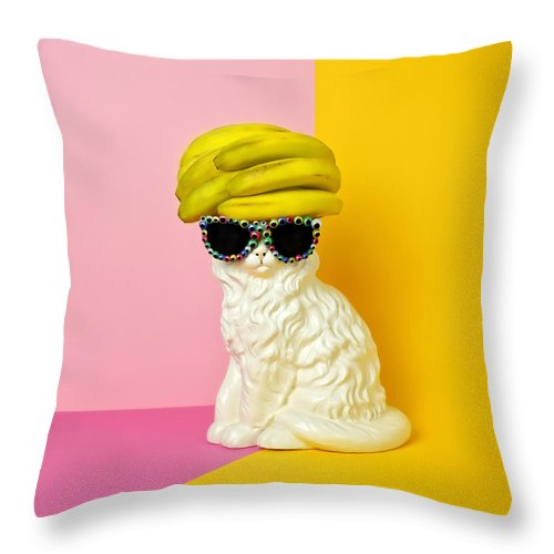 Statue Throw Pillow featuring the photograph Cat Wearing Sunglasses And Banana Wighat by Juj Winn