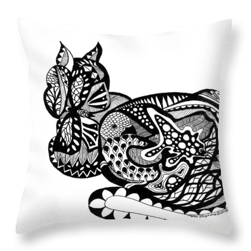 Cat Throw Pillow featuring the drawing Cat With Design by Petra Stephens