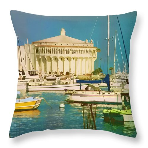 Landscape Throw Pillow featuring the photograph Catalina Harbor by Cathy Threadgill