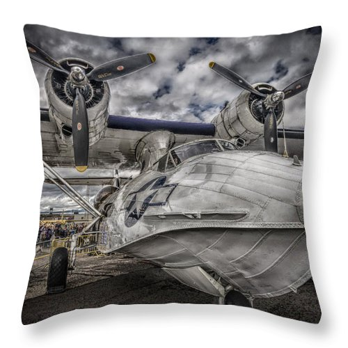 Miss Pick Up Throw Pillow featuring the photograph Catalina Pby-5a Miss Pick Up Hdr by Gareth Burge Photography