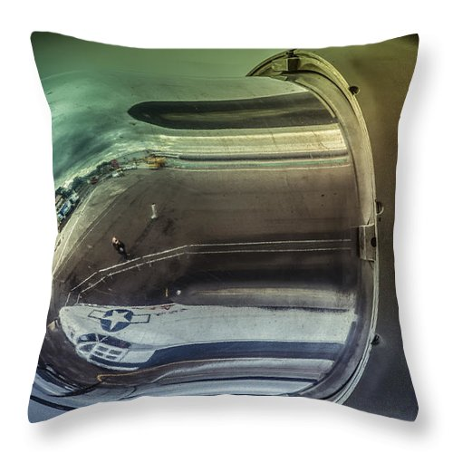 Miss Pick Up Throw Pillow featuring the photograph Catalina Pby-5a Miss Pick Up Nacelle Reflection by Gareth Burge Photography