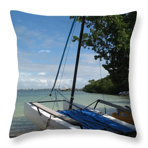 Beach Throw Pillow featuring the photograph Catamaran On The Beach by Christiane Schulze Art And Photography