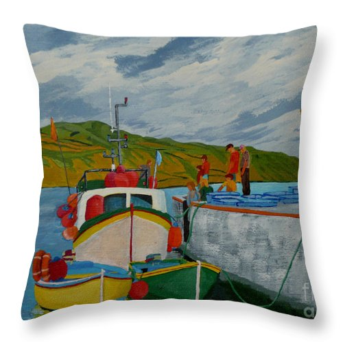Boats Throw Pillow featuring the painting Catch Of The Day by Anthony Dunphy