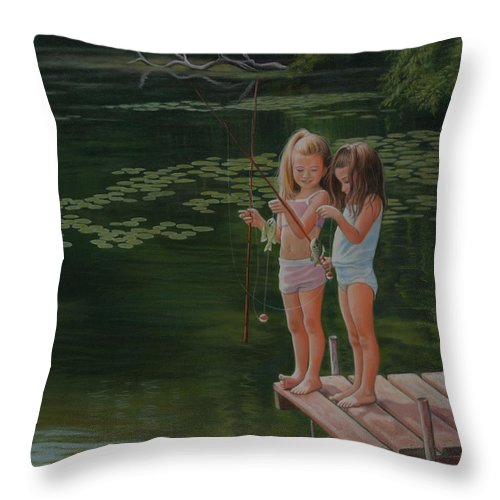Realistic Throw Pillow featuring the painting Catch Of The Day by Holly Kallie