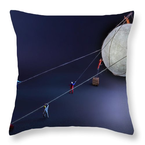 Planetary Moon Throw Pillow featuring the photograph Catch The Moon by Antonio Iacobelli