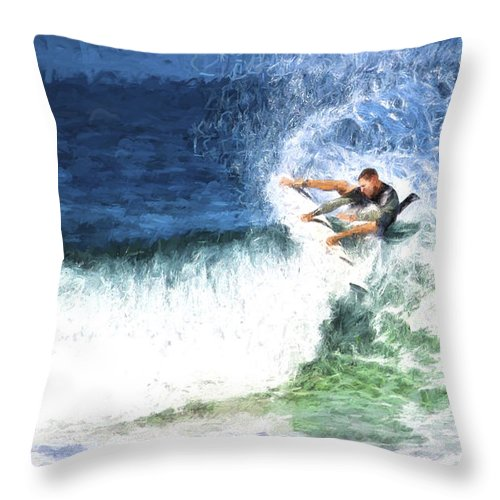 Surfer Throw Pillow featuring the photograph Catching a wave by Sheila Smart Fine Art Photography