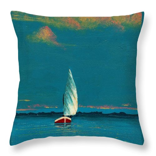 Landscape Painting Throw Pillow featuring the painting Catching The Breeze by Edith Peterson