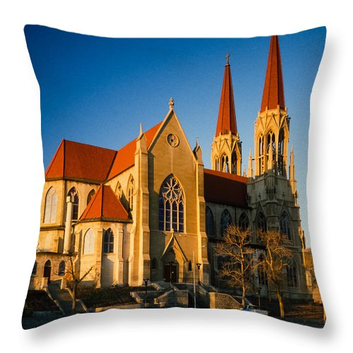 The Roman Catholic Cathedral In Helena Montana. Throw Pillow featuring the photograph Cathedral Helena Montana by Mike Penney
